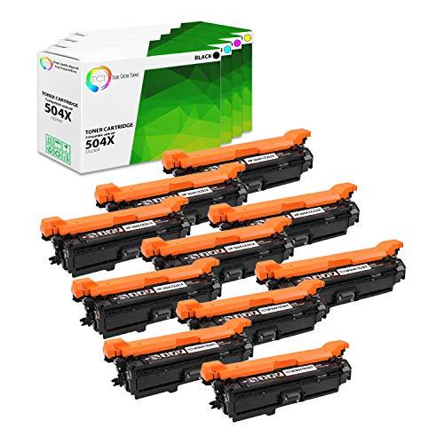 TCT Premium Compatible Toner Cartridge Replacement for HP 540X 504A CE250X CE251A CE252A CE253A Works with HP Color Laserjet CP3525X Printers Black Cyan Magenta Yellow - 10 Pack