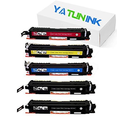 YATUNINK Compatible Toner Cartridge Replacement for Hewlett-Packard HP126A CE310A CE311A CE312A CE313A 2 Black1 Cyan1 Yellow1 Magenta