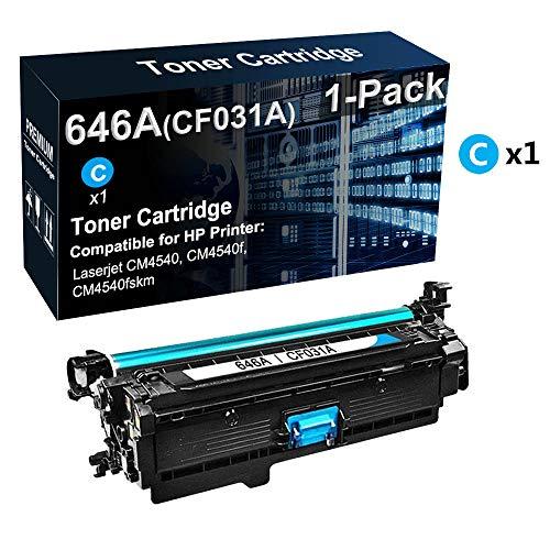 1-Pack Compatible High Capacity 646A CF031A Laser Printer Cartridge Cyan Used for HP Color Laserjet CM4540f CM4540fskm Printer Photos-Vivid