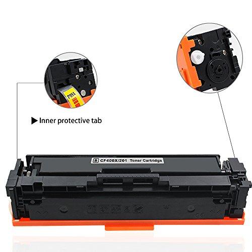 Valuetoner For 201X 201ACompatible Toner Cartridges For CF400XCF400AUse With Color LaserJet Pro MFP M277dwMFP M252dwMFP M277nMFP M252nHigh Yield(1 Black 1 Cyan 1 Magenta 1 Yellow)4 Pack