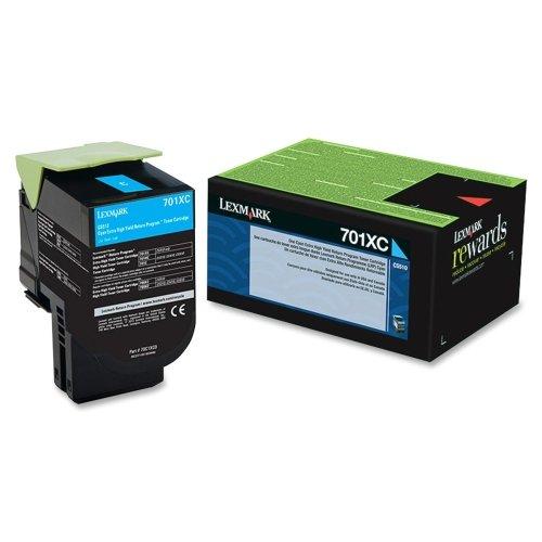 Lexmark 701Xc Cyan Extra High Yield Return Program Toner Cartridge  Cyan  Laser  4000 Page  1 Each Product Type Print SuppliesInkToner Cartridges