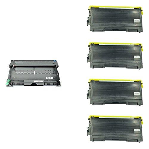 NineLeaf 4 Toner  1 Drum New Compatible for Brother DR350 Drum Unit TN350 Toner Cartridges With Brother DCP-7020 HL-20302040 MFC-72207225N7420 Printer