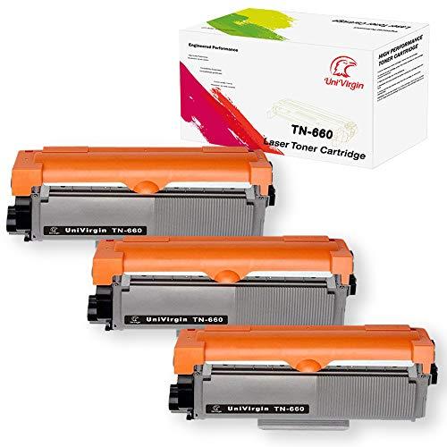 UniVirgin Compatible TN660 Toner Cartridge Replacement for BrotherTN-660 TN660 TN630 TN-630 Black Toner Cartridge fits for Brother HL-2340DW HL-2380DW HL-2300D BK 3-Pack