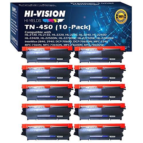 HI-VISION HI-YIELDS 10 Pack Compatible TN-450 TN450 Toner Cartridge Replacement for HL-2240 HL-2230 HL-2270DW HL-2220 HL-2240D MFC-7860DWHL-2280DWDCP-7065DNMFC-7240IntelliFax-284 Black