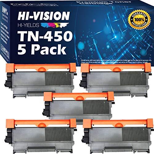 HI-VISION HI-YIELDS 5 Pack Compatible Replacement for TN-450 TN450 Toner Cartridge for HL-2240 HL-2230 HL-2270DW HL-2220 HL-2240D MFC-7860DWHL-2280DWDCP-7065DNMFC-7240IntelliFax-284 Black