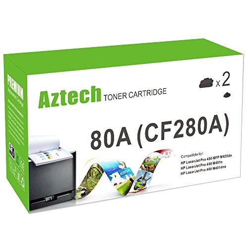 Aztech 2 Packs Compatible Black Toner Cartridge CF280A 80A Replacement for Laserjet Pro 400 Mfp M401N M425Dn M401Dne M401 M401Dn M425 Laser Jet Printer Ink