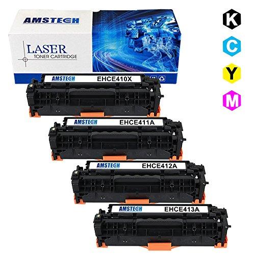 4 Pack Amstech New Compatible 305X CE410X CE411A CE412A CE413A Toner Cartridge For Color LaserJet Pro 400 M451dn M451dw M451nw Pro 400 MFP M475dw M475dn Pro 300 MFP M375nw PrinterKCMY