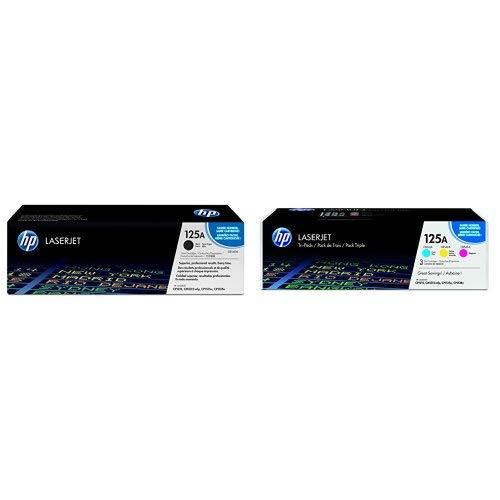 HP 125A Black Cyan Magenta Yellow Toner Cartridges CB540A CB541A CB542A CB543A for HP Color LaserJet CP1215 CP1515 CP1518 CM1312 4 Cartridge Bundle