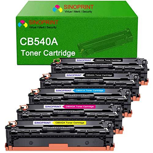 SINOPRINT Compatible Toner Cartridge Replacement for HP 125A CB540A CB541A CB542A CB543A for HP Color Laserjet CM1312nfi CP1215 CP1518ni CP1515n CM1312 CP1513n CP1516n Printer 5-Pack