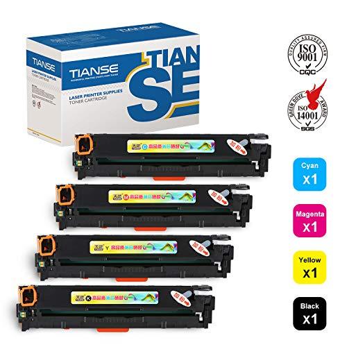TIANSE Compatible Toner Cartridge Replacement for CB540A CB541A CB542A CB543A 125A for HP Color Laserjet CP1215 CP1518ni CP1515n CM1312nfi Printer 1 Black 1 Cyan 1 Magenta 1 Yellow 4 Pack