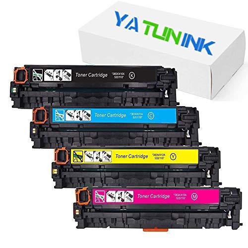 YATUNINK Remanufactured Toner Cartridge Replacement for HP 125A CB540A CB541A CB542A CB543A Use in Color Laserjet CP1215 CP1518ni CP1515n CM1312nfi CM1312 MFP Series Printer4 Pack