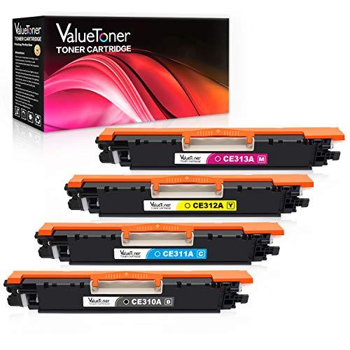 Valuetoner Remanufactured Toner Cartridge Replacement for HP 126A CE310A CE311A CE312A CE313A for Color Laserjet Pro MFP M175 M275 CP1025nw Laser PrinterBlack Cyan Magenta Yellow 4 Pack