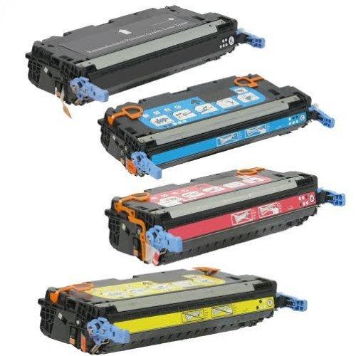 Toner Tech © High Yield HP 501A Toner Cartridge Q6470A Q6471A Q6472A Q6473A for HP Color LaserJet 3600 3600N 3600DN Series Printers Complete Set