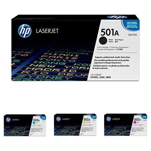 HP 501A Black and 502A Cyan Magenta Yellow Toner Cartridges Q6470A Q6471A Q6472A Q6473A for HP Color LaserJet 3600 3800 CP3505 4 Cartridge Bundle