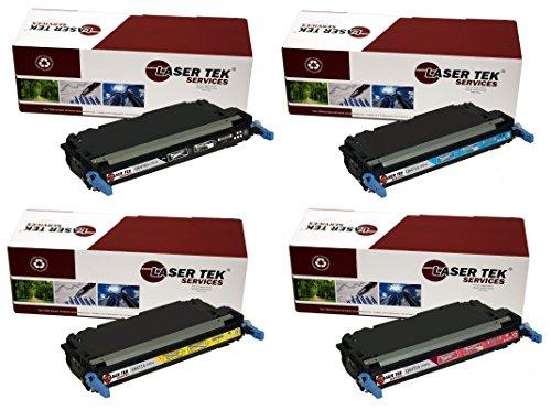 Laser Tek Services Compatible Toner Cartridge Replacement for HP 501A 502A Q6470A Q6471A Q6473A Q6472A Black Cyan Magent Yellow 4-Pack