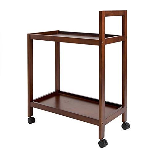 Platforms Stands Shelves Company Storage Rack Print Rack Rack Kitchen Rack Bedroom Bed Storage Rack Solid Wood Mobile Dining Cart Stroller Rack Multilayer Color  Yellow Size  59cm32cm79cm