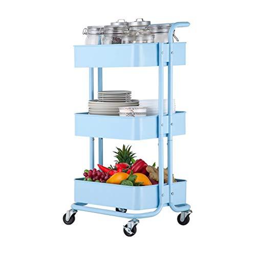 Platforms Stands Shelves Rack Home Kitchen Stroller Removable Bathroom Storage Shelf Wheeled Living Room Hand Push Storage Color  Blue Size  43cm34cm74cm