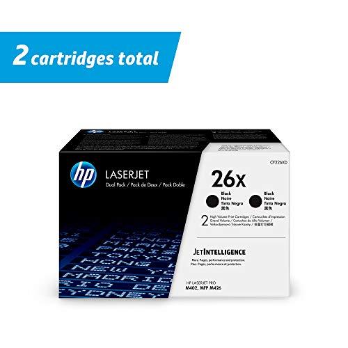 HP 26X  CF226XD  2 Toner Cartridges  Black  High Yield Pack of 2