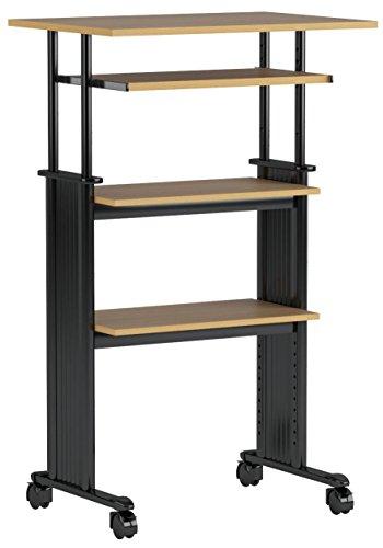 Safco Products Muv 35-49H Stand-Up Desk Adjustable Height Computer Workstation with Keyboard Shelf Medium Oak