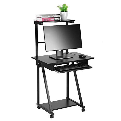 Yosooo Mobile Stand Up Desk Double-Layers Computer Cart Desk Standing Computer Work Station Laptop Desk Rolling Presentation Cart Workstation Desk