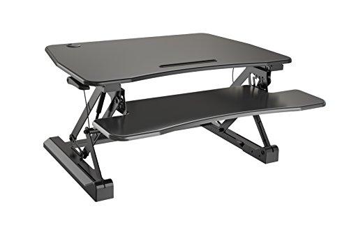 Zeal Height Adjustable Standing Desk Ergonomic Laptop Monitor Standing Dual Riser Sit to Stand Table Computer Workstation Desk Black