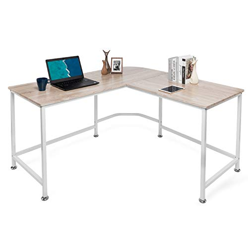 Lauraland L Shaped Desk Corner Computer Desk Laptop Study Table Morden Workstation Gaming Table Oak