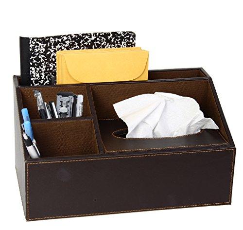 Brown Leather Design Supplies Organizer With Built In Tissue Box 4 Compartment Desktop Organizer
