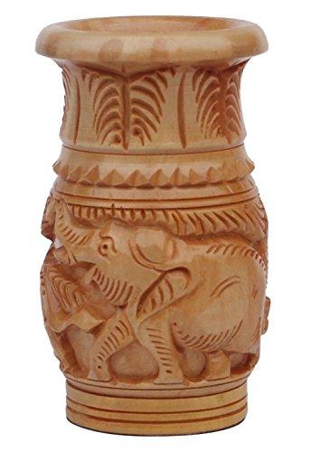 "SouvNear Pencil  Pen Holder in Wooden – 4"" Handmade  Hand Carved Elephant Pen Stand in Light Brown Color – Desktop  Desk Organizer Accessories"