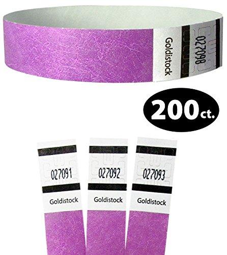 Tyvek Wristbands - Goldistock Original Series Regal Neon Purple 200 Count - ¾ Arm Bands - Paper-Like Party Armbands - Heavier Tyvek Wrist Bands  Superior Events