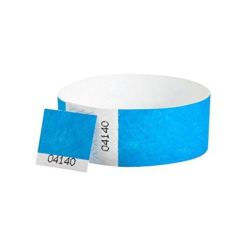 WristCo Neon Blue 34 Inch Voucher Detachable Stub 500 Count Paper Wristbands for Events
