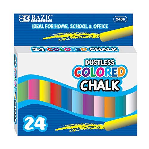 BAZIC Dustless Assorted Color Chalk 24Box