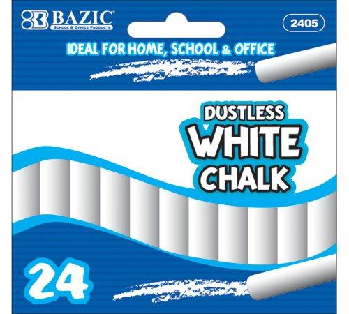 BAZIC Dustless Chalk White 24 Per Box