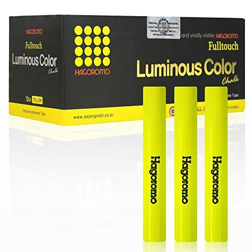 HAGOROMO Fulltouch Luminous Chalk 1 Box Non-Toxic Dustless 72 PcsYellow