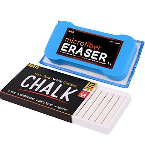 Huntz Non-Toxic White Dustless Chalk 12 ct Box  Premium Microfiber Eraser Washable Reusable