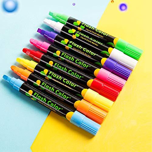 QTQYQJ 8 Colors Erasable Chalk Markers Pens Set - Dustless Non-Toxic Colorful Graffiti Highlighter Marker Chalkboard Pens Works Washable on BlackboardGlassWindowMirror Plastic