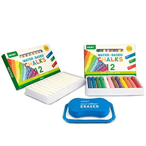 WEIMY Non-Toxic White Dustless Chalk 12 ct Box and Colored Dustless Chalk 12 ct Box Bundle -Includes Kids Chalkboard Eraser Washable Reusable Microfiber Cloth