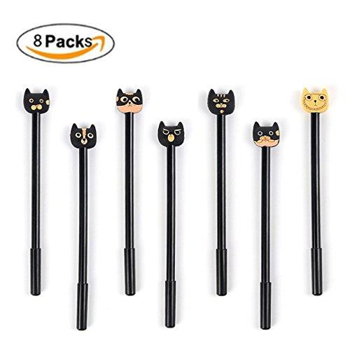 Aimeio 8 PCs Cute Cartoon Cat Gel Roller Ball Pen Set05mm Extra Fine Point Black Ink Writing Pen