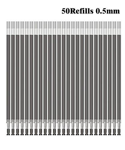 Deyllo 50 Pcs Durable Smooth Black Gel Ink Roller Ball Pen Refills Set 05mm Extra Fine Point