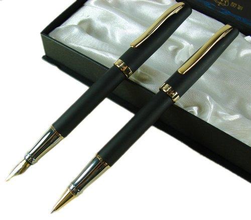 Duke 209 Frost Black Vintage Fountain Pen and Matching Roller Ball Pen Set