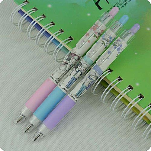 M&Sun 8 pcs Cute Cartoon Sweet honey 05mm Blue Ink Ballpoint Pens Ball Pen Set Stationery