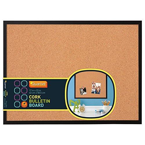 Quartet 17 x 23 Cork Bulletin Board Wood Frame Black 85415P