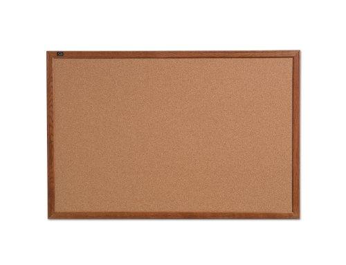Quartet Cork Bulletin Board Oak Frame 24 x 36 Inches 85223B