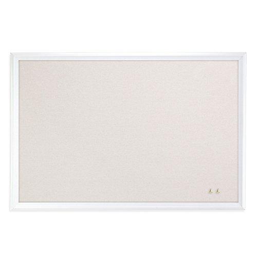 U Brands Cork Linen Bulletin Board 20 x 30 Inches White Wood Frame