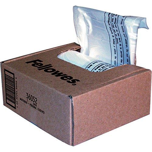 Fellowes Powershred Shredder Bags 10 Gallon Capacity Clear 100 Bags and TiesCTN 36052