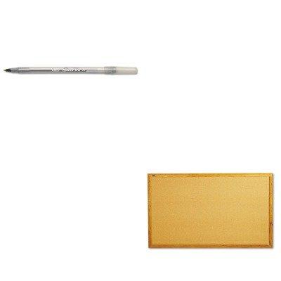 KITBICGSM11BKQRT305 - Value Kit - Quartet Bulletin Board QRT305 and BIC Round Stic Ballpoint Stick Pen BICGSM11BK