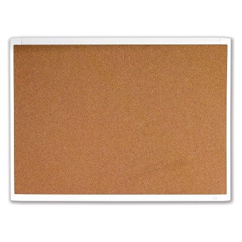 Quartet Magnetic Cork Bulletin Board White Plastic Frame 11 x 17 Inches Natural Cork MHOB1117