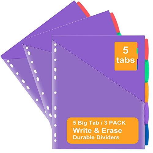 Insertable Plastic Dividers wFront Pocket Binder Index Dividers 5-Tab Set Pack of 3 Sets Multicolor Tab dividers Dividers with Pockets