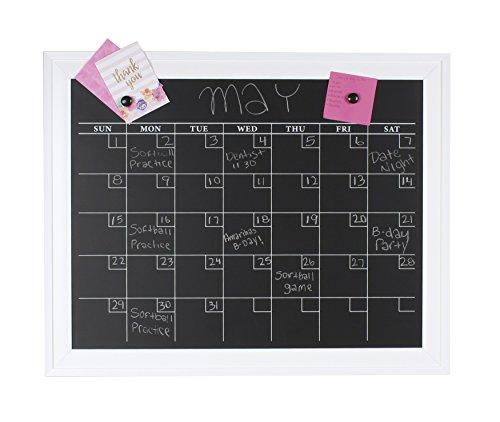DesignOvation 209454 Bosc Framed Magnetic Chalkboard Monthly Calendar Wall Organization Board White