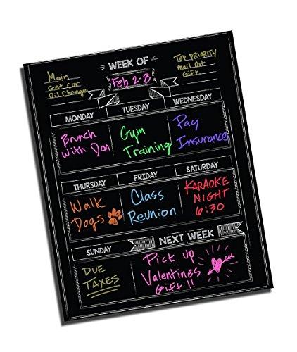 Dry Erase Chalkboard Wall Calendar - 16 x 13 - Refrigerator Home Kitchen Sticker Menu Board - Non Magnetic Reusable Chalk Board Vinyl Decal - Black Fluorescent Custom Weekly Calendar Planner