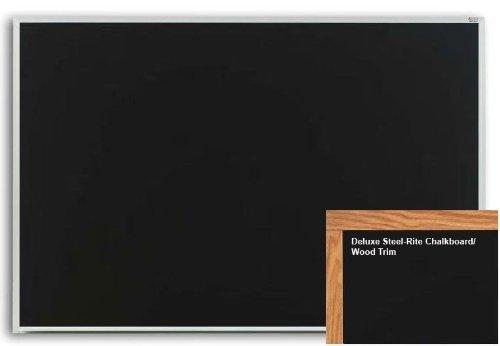 Marsh Pro-Rite 48X60 Black Porcelain Chalkboard Red Oak Wood Trim